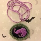 Purple and Grey Peacock Cameo Necklace