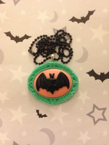 Black, Pink and Green Bat Cameo Necklace