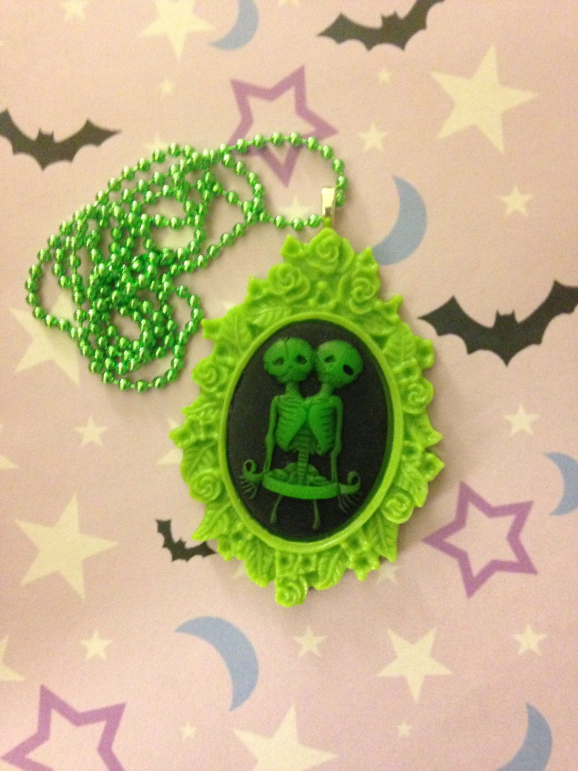 Green and Black Skeleton Twins Cameo Necklace