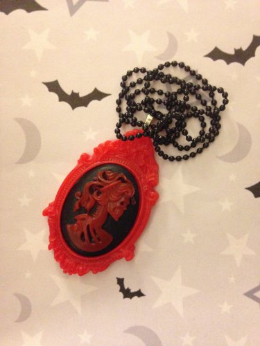 Black and Red Skull Lady Cameo Necklace