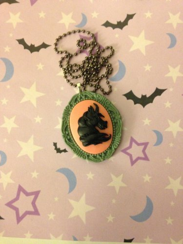 Black, Pink and Grey Unicorn Cameo Necklace