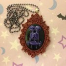Purple and Burgundy Skeleton Twins Cameo Necklace