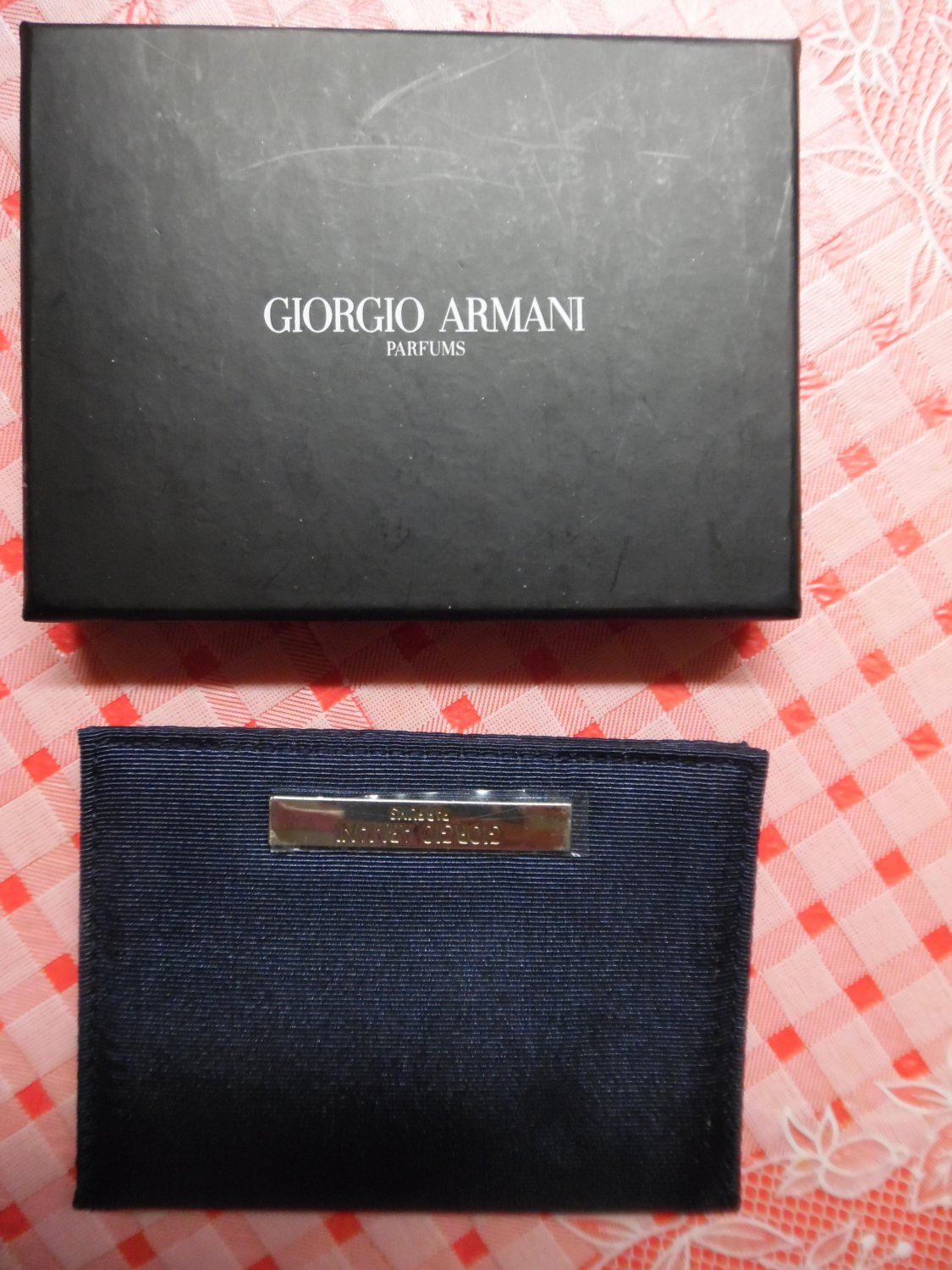 GIORGIO ARMANI Parfums Navy Blue Wallet With Mirror