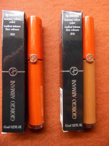 GIORGIO ARMANI Lot Of 2 Lip Velours/Lip Maestro Shades - 400 (The Red) & 200 (Terra)