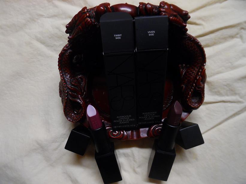 NARS Audacious Lipstick - Fanny 9455 (Rich Berry) and Vivien 9490 (Red Plum)