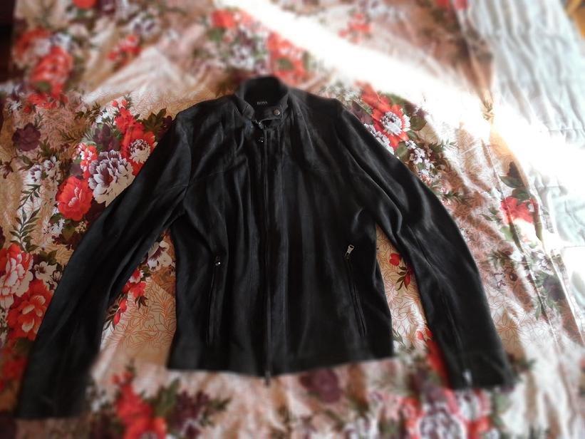 HUGO BOSS Dark Brown Spanish Lambskin Suede Jacket