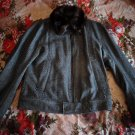 DOLCE & GABBANA Italian Virgin Wool Bomber Jacket With Otter Fur Collar Trim