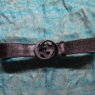 GUCCI Black Signature Interlocking G Buckle Belt