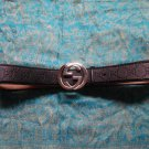 GUCCI Black Debossed Signature Interlocking G Leather Buckle Belt