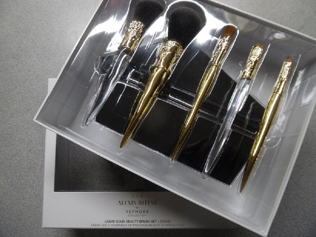 ALEXIS BITTAR X SEPHORA Limited Edition Liquid Gold Beauty Brush Set And Stand
