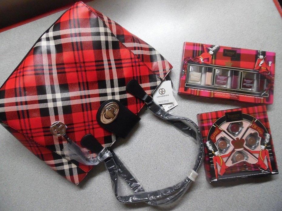 Giani Bernini Red Multi Plaid Faux Leather Satchel Tote Bag