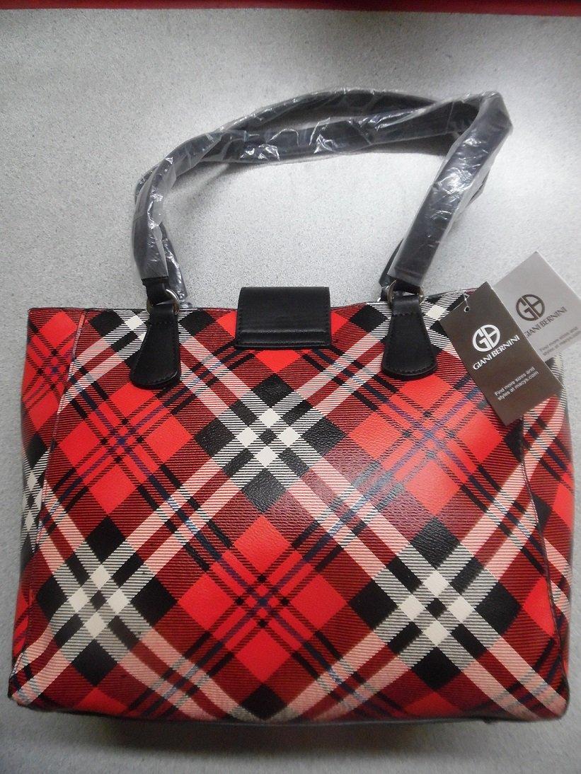 Giani Bernini Red Multi Plaid Faux Leather Satchel Tote Bag (More Photos Of Bag)