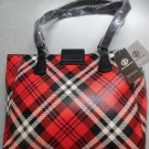 Giani Bernini Red Multi Plaid Faux Leather Satchel Tote Bag (More Photos Of Bag)