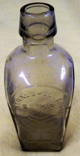 Straubhullers Elixir smoked glass reproduction bottle
