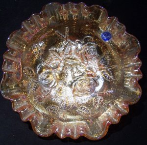 Imperial Glass Luster Rose carnival glass bowl