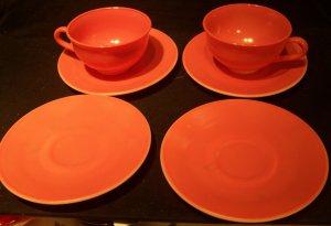 Hazel Atlas 'Ovide' glassware pink/peach 2 cups and 4 saucers