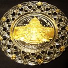 1904 St. Louis World's Fair woven reverse painted glass plate