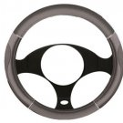 Grey Non Slip Luxury Steering Wheel Cover Design Universal Fit New Chrome