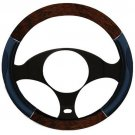 New One Wood Chrome Black Steering Wheel Cover Non Slip Comfort Grip Vinyl