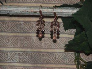 copper chandelier earings.