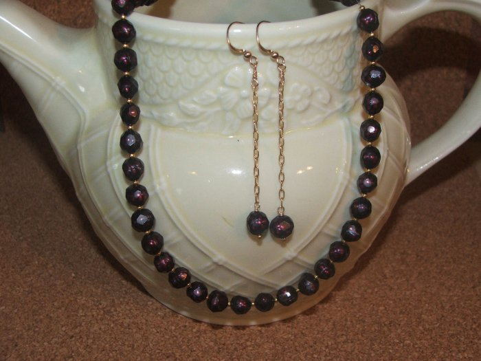 faceted burgandy fresh water pearl necklace set