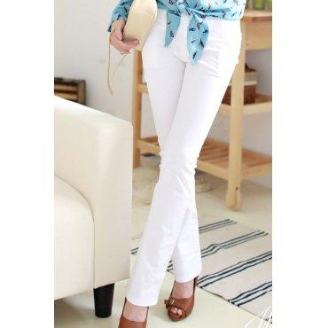 Solid White Boot Cut Pants (Medium)