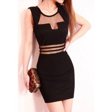 (Large)  Sexy O Neck Front Patchwork Sleeveless Black Cotton Sheath Mini Dress