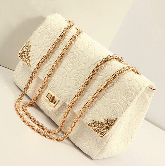 Fashion Women Hasp Designed Roses Embossed Metal Decorated Solid White PU Slanting Bag