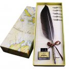 Retro Style Quill Pen Goose Feather Dip Pen Antique Writing Quill Pen + Empty Ink Bottle