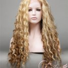 Long Curly Dark Blonde and Brown Ombre Wig Lace Front Wig Synthetic Fiber Soft Natural Hair Looks