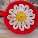 Set of 4 Crocheted Sunflower Coasters Cup Mat Home Kitchen Table Coasters Red