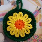Set of 4 Crocheted Sunflower Coasters Cup Mat Home Kitchen Table Coasters Dark Green