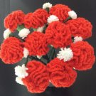 Crochet Flowers Red Crochet Carnation Bouquet Home Deco /Gift