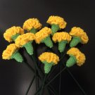 Finished Yellow Crochet Carnation Bouquet Made of 10 Yellow Carnations Home Deco /Gift