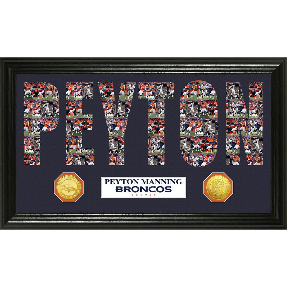 Peyton Manning Word Art Bronze Coin Panoramic Photo Mint