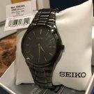 Men's Seiko SNE325 Black Stainless Steel Black Dial Dress Solar Watch