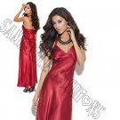 Red Charmeuse Satin Halter Neck Gown - Large