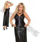 Black Charmeuse Satin Halter Neck Gown - 3X