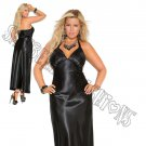 Black Charmeuse Satin Halter Neck Gown - 2X