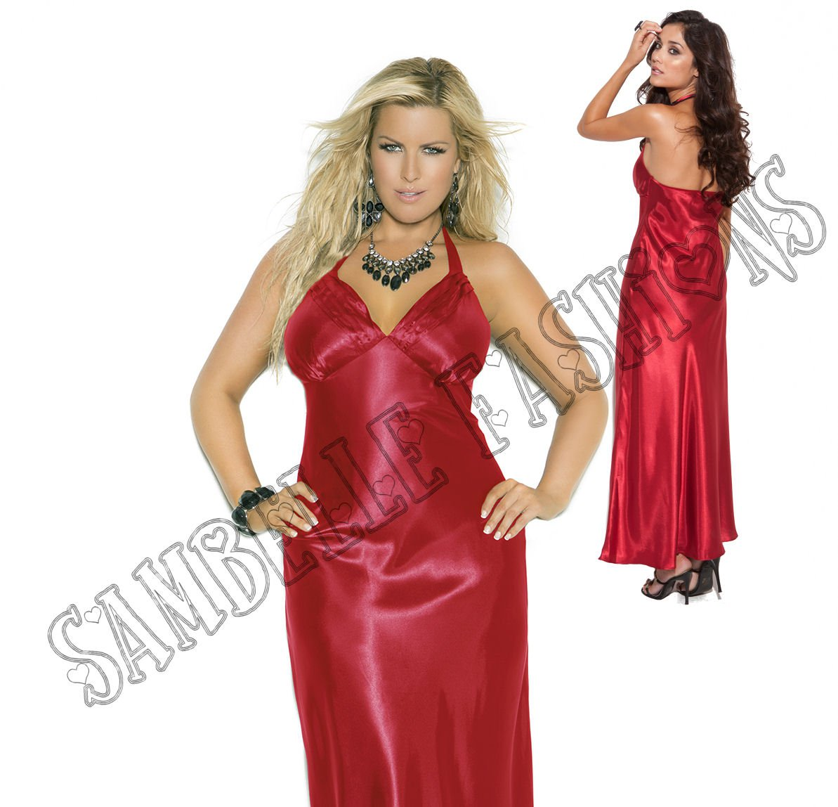 Red Charmeuse Satin Halter Neck Gown - 3X