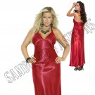 Red Charmeuse Satin Halter Neck Gown - 1X