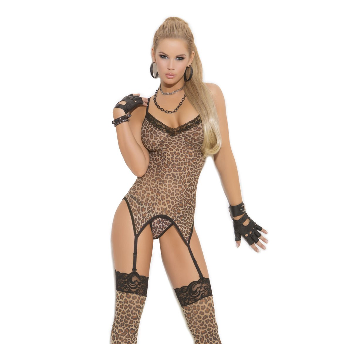 3pc- Leopard Print Camisette G-String & Stockings - One Size