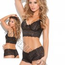 2pc Black Stretch Lace Booty Shorts & Camisole w/Bows - Large
