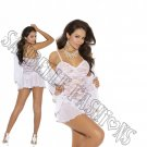3pc White Lace Baby Doll w/ Matching Long Sleeve Jacket & G-string - Large