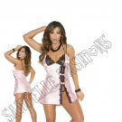 2pc Baby Pink Charmeuse Baby Doll & G-string - Large
