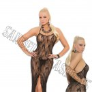 Black Butterfly Lace Slip Style Lingerie Gown w/ Front Slip - One Size