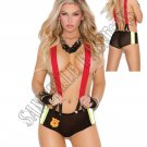 2pc- Sexy Firefighter Put Out My Fire Lingerie Costume - One Size