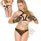 2pc Lingerie- Lace Cupless Bra & Panty w/ Open Back - One Size