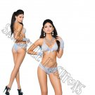 3pc - Baby Blue Lace Bra, Gloves, Booty Shorts w/ Ruched Back - One Size