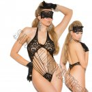 2pc - Black Lace Teddy & Matching Eye Mask - One Size